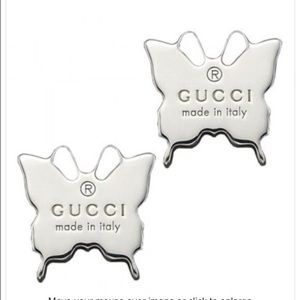 Authentic Gucci butterfly stud earrings new in box